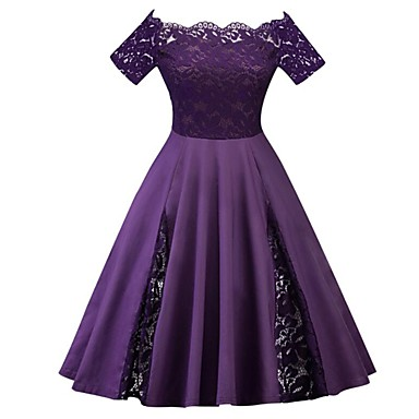 cheap Vintage Dresses-Women's Plus Size A Line Dress - Short Sleeve Solid Colored Lace Spring Summer Off Shoulder 1950s Vintage Party Wine Black Blue Purple Red Green Royal Blue XL XXL XXXL XXXXL XXXXXL / Sexy