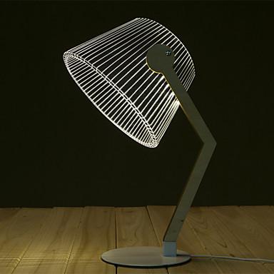 cheap Novelties-Bending table lamp Modern Design Novelty Lamp 3D Wood Table Lamp LED Reading Lamp With Luminous Illusion Light Home Decor