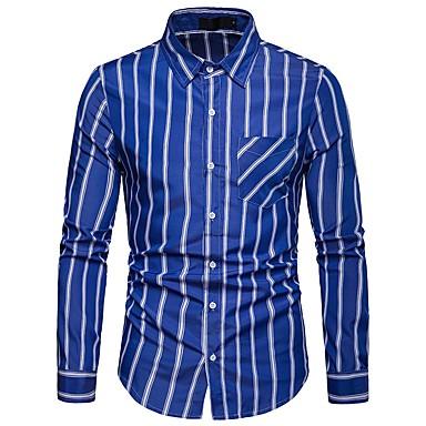 Majica Muškarci Dnevno / Rad Pamuk Prugasti uzorak / Color block Plava / Dugih rukava