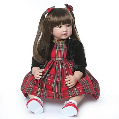 olcso babák-NPKCOLLECTION NPK DOLL Reborn Dolls Lány Doll Lány babák 24 hüvelyk Ajándék Kézzel készített Mesterséges beültetés barna szemek Gyerek Lány Játékok Ajándék
