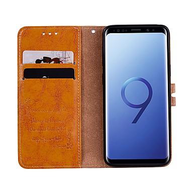 Недорогие Чехлы и кейсы для Galaxy S3-Кейс для Назначение SSamsung Galaxy S9 / S9 Plus / S8 Plus Кошелек / Бумажник для карт / со стендом Чехол Однотонный Твердый Кожа PU