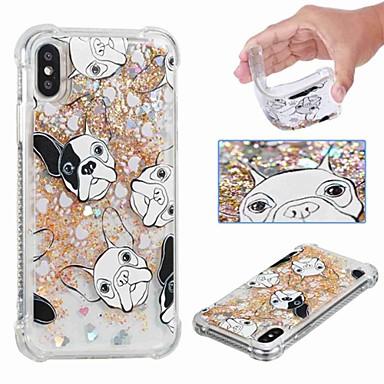 voordelige iPhone 6 Plus hoesjes-hoesje Voor Apple iPhone XS / iPhone XR / iPhone XS Max Schokbestendig / Stromende vloeistof / Transparant Achterkant Hond / Glitterglans Zacht TPU