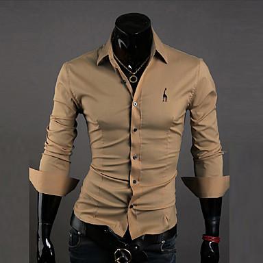 رخيصةأون قمصان رجالي-رجالي عمل الأعمال التجارية / أساسي مطرز قطن قميص, لون سادة ياقة كلاسيكية نحيل / كم طويل / الخريف