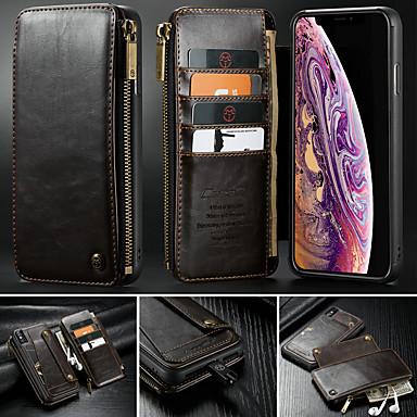 voordelige iPhone X hoesjes-hoesje Voor Apple iPhone XS / iPhone XR / iPhone XS Max Portemonnee / Kaarthouder / met standaard Volledig hoesje Effen Hard PU-nahka