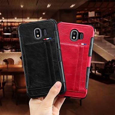 Недорогие Чехлы и кейсы для Galaxy J-Кейс для Назначение SSamsung Galaxy J4 Бумажник для карт / Защита от удара / Защита от пыли Кейс на заднюю панель Однотонный Мягкий Кожа PU