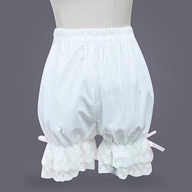 Classic Lolita lolita Rochii Pantaloni Pentru femei Fete Bumbac Japoneză Costume Cosplay Alb Mată lolita / Clasic / Traditional Lolita