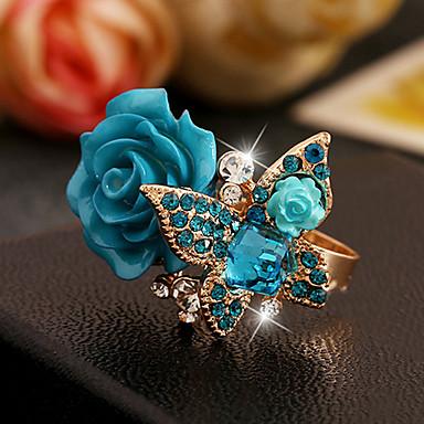 رخيصةأون خواتم-نسائي خاتم قابل للتعديل 1PC أسود أخضر أزرق راتينج تقليد الماس سبيكة فيكتوريا زفاف فضفاض مجوهرات أشكال النحت كوول