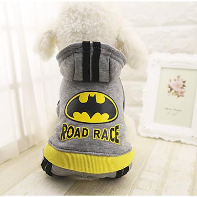 رخيصةأون ملابس وإكسسوارات الكلاب-كلب المعاطف هوديس حللا الشتاء ملابس الكلاب رمادي كوستيوم قطن مطبوعة بأحرف وأرقام كاجوال / يومي XS S M L XL XXL