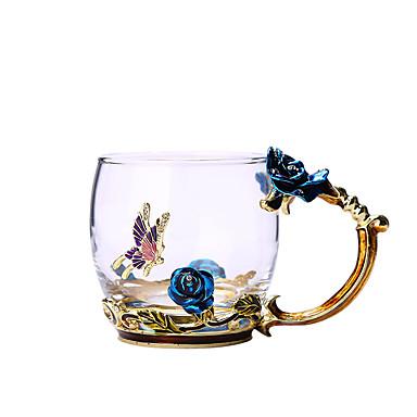billige Vinglass-blå rose emalje krystall kopp blomst te glass glass vann krus med håndtak gave elsker bryllup