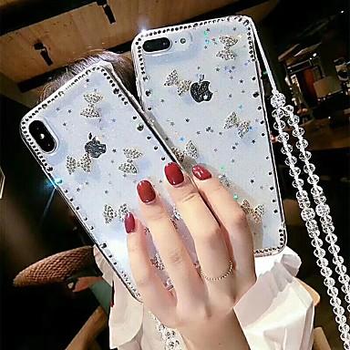 Недорогие Кейсы для iPhone X-Кейс для Назначение Apple iPhone XS / iPhone XR / iPhone XS Max Стразы / Прозрачный / Своими руками Кейс на заднюю панель Стразы Мягкий ТПУ