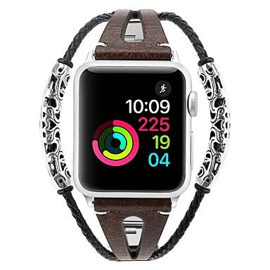 Недорогие Ремешки для Apple Watch-Ремешок для часов для Серия Apple Watch 5/4/3/2/1 Apple Современная застежка Нержавеющая сталь / Натуральная кожа Повязка на запястье