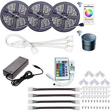 olcso Szalagfény készlet-kwb wifi led vezérlő teljesítmény wifi vezeték nélküli okos telefon vezérelt fénycsík led készlet 5050 led lámpák 15m (3x5m) rgb led szalag 5050 smd vízálló ip65 rugalmas fény dc 12v szalag lámpa