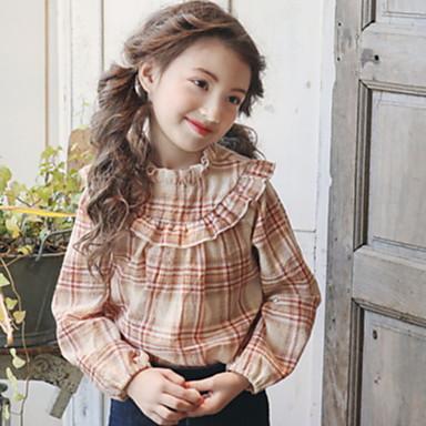Недорогие Топы для девочек-Дети Девочки Активный Шахматка Длинный рукав Рубашка Красный