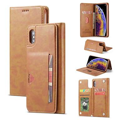 Недорогие Кейсы для iPhone 6-Кейс для Назначение Apple iPhone XS / iPhone XR / iPhone XS Max Бумажник для карт / со стендом / Флип Чехол Однотонный Твердый Кожа PU