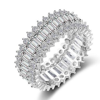 olcso Karikagyűrűk-Női Band Ring Micro Pave gyűrű Kocka cirkónia 1db Ezüst Réz Stílusos Iced Out Esküvő Eljegyzés Ékszerek