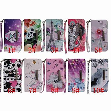 Недорогие Чехлы и кейсы для LG-Кейс для Назначение LG LG Q Stylus / LG Stylo 4 / LG K30 Кошелек / Бумажник для карт / Защита от удара Чехол Бабочка / Слон / Панда Твердый Кожа PU