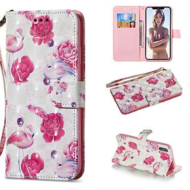 Недорогие Кейсы для iPhone X-Кейс для Назначение Apple iPhone XS / iPhone XR / iPhone XS Max Кошелек / Бумажник для карт / со стендом Чехол Фламинго Твердый Кожа PU