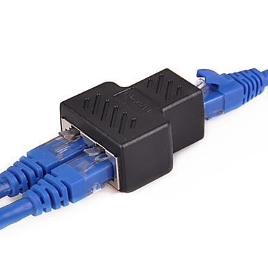 abordables Cables Ethernet-1 a 2 vías lan cable de red ethernet rj45 a rj45 adaptador hembra - adaptador de conector divisor hembra
