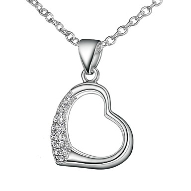 8193b14e5f8225 Women's Clear Cubic Zirconia tiny diamond Pendant Necklace Chain Necklace  Necklace Heart Simple Basic Romantic Fashion Silver Plated Silver 46 cm  Necklace ...