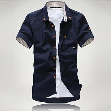 رخيصةأون قمصان رجالي-رجالي أساسي مقاس أوروبي / أمريكي - قطن قميص, لون سادة ياقة كلاسيكية نحيل / كم قصير / الخريف