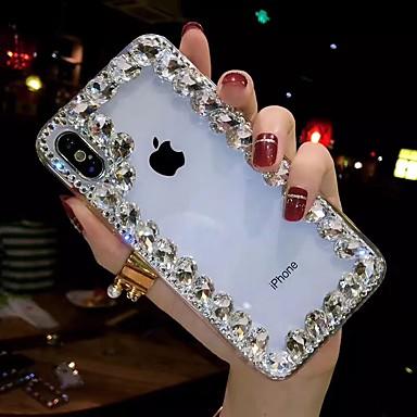 voordelige iPhone X hoesjes-hoesje Voor Apple iPhone XS / iPhone XR / iPhone XS Max Strass / Transparant / DHZ Achterkant Strass Zacht TPU
