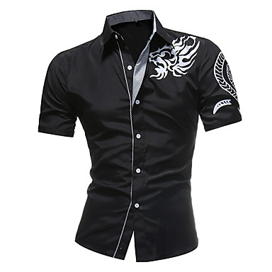 رخيصةأون قمصان رجالي-رجالي قميص, ترايبال نحيل / كم قصير