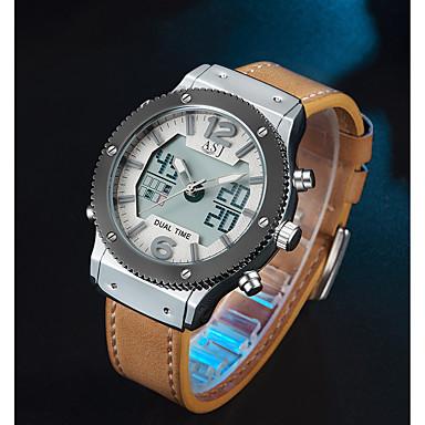 Недорогие Часы на кожаном ремешке-ASJ Муж. Спортивные часы электронные часы Японский кварц На каждый день Будильник Аналого-цифровые Черный Коричневый / Два года / Натуральная кожа / Натуральная кожа / Два года