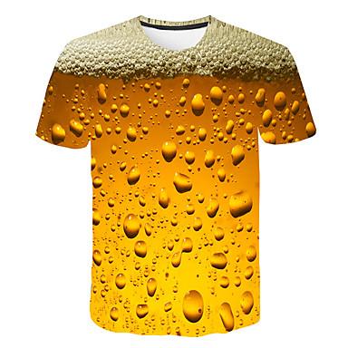 cheap Christmas Deals-Men's Daily Weekend Basic / Street chic T-shirt Print Round Neck Yellow / Short Sleeve