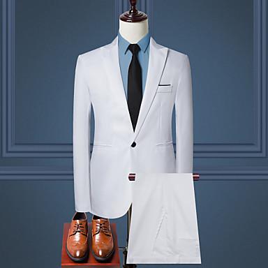 ieftine Blazer & Costume de Bărbați-Bărbați Zilnic / Muncă Afacere / De Bază Primăvara & toamnă Mărime EU / US Regular Costume, Mată Guler Cămașă Manșon Lung Bumbac / Poliester Albastru Deschis / Kaki / Bleumarin / Business Formal