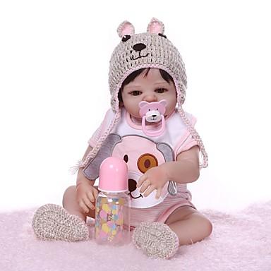 olcso babák-NPKCOLLECTION Reborn Dolls Lány babák 20 hüvelyk Teljes test szilikon Vinil - Ajándék Kézzel készített Mesterséges beültetés barna szemek Gyerek Lány Játékok Ajándék