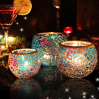 Country / Rustic / European Style Glasses / Glass Candle Holders Novelty / Birthday / Candelabra 3pcs, Candle / Candle Holder