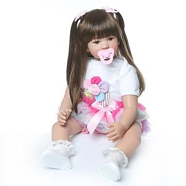 olcso babák-NPKCOLLECTION Reborn Dolls Lány babák 24 hüvelyk Ajándék Kézzel készített Mesterséges beültetés barna szemek Gyerek Lány Játékok Ajándék