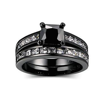 billige Ring sæt-Dame Ring Set Kvadratisk Zirconium 1set Sort Legering Anderledes Mode Hip-hop Bryllup Forlovelse Smykker geometrisk Heldig Sej