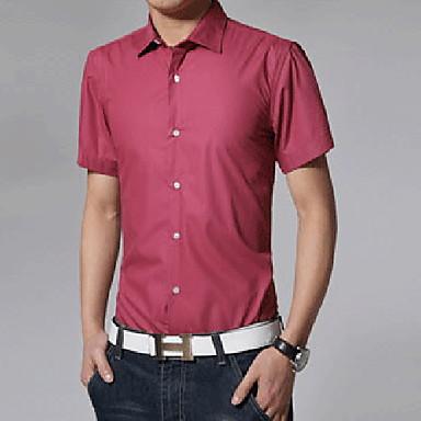 رخيصةأون قمصان رجالي-رجالي عمل الأعمال التجارية / أساسي مقاس أوروبي / أمريكي - قطن قميص, لون سادة ياقة كلاسيكية / كم قصير / الصيف