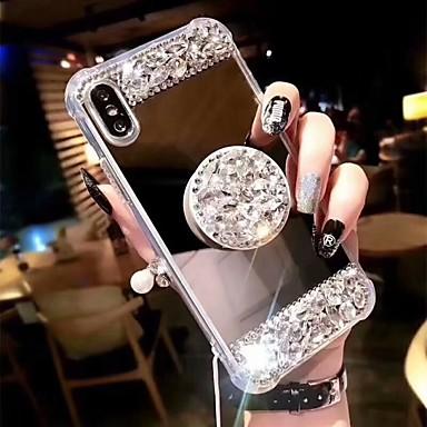 رخيصةأون أغطية أيفون-غطاء من أجل Apple اي فون 11 / iPhone 11 Pro / iPhone 11 Pro Max ضد الصدمات / مع حامل غطاء خلفي حجر الراين قاسي أكريليك