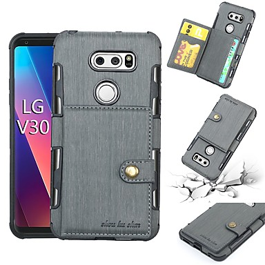 cheap LG Case-Case For LG LG V30 Card Holder / Shockproof Back Cover Solid Colored Soft PU Leather