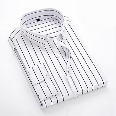 رخيصةأون قمصان رجالي-رجالي مقاس أوروبي / أمريكي قميص, مخطط ياقة كلاسيكية / كم طويل