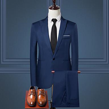 رخيصةأون سترات و بدلات الرجال-رجالي أسود نبيذ أزرق فاتح M L XL الدعاوى لون سادة / كم طويل / عمل