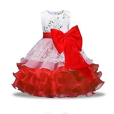 Дети Девочки Классический Повседневные Однотонный Длинный рукав Платье Красный