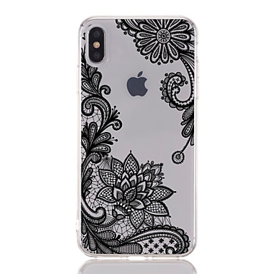 voordelige iPhone-hoesjes-hoesje Voor Apple iPhone XS / iPhone XR / iPhone XS Max Transparant / Patroon Achterkant Lace Printing / Bloem Zacht TPU