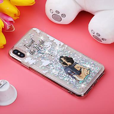 voordelige iPhone-hoesjes-hoesje Voor Apple iPhone XS / iPhone XR / iPhone XS Max Schokbestendig / Stromende vloeistof / Patroon Achterkant Hond / Glitterglans Zacht TPU