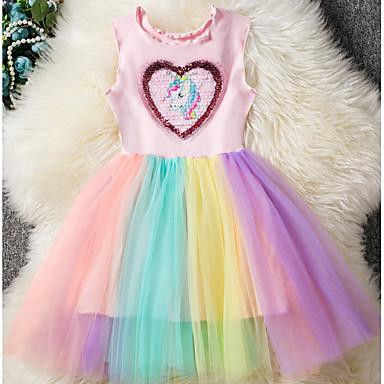 povoljno Beba & Djeca-Djeca Djevojčice Osnovni Unicorn Duga Kolaž Bez rukávů Haljina Blushing Pink