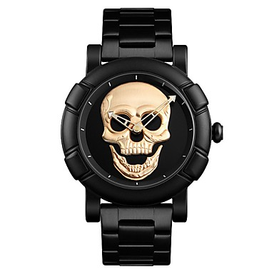2499 Hombre Reloj De Vestir Cuarzo Acero Inoxidable Negro Resistente Al Agua Calavera Esfera Grande Analógico Casual Moda Dorado Negro Plata