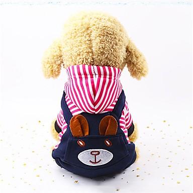رخيصةأون ملابس وإكسسوارات الكلاب-كلاب حللا الشتاء ملابس الكلاب الدفء أحمر أزرق كوستيوم قماش قطيفة مخطط كاجوال / يومي خطوط S M L XL