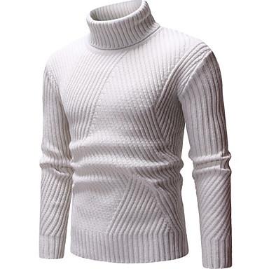 お買い得  メンズファッション-男性用 ソリッド プルオーバー セータージャンパー ブラック / ベージュ / グレー M / L / XL