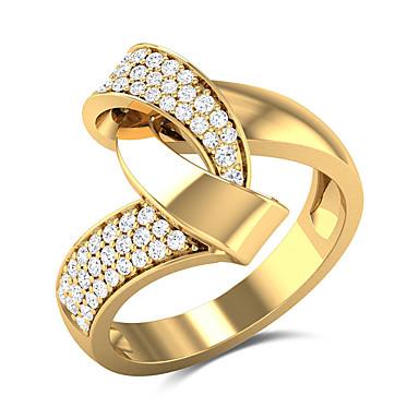 رخيصةأون خواتم-نسائي خاتم البيان مكعب زركونيا 1PC أصفر نحاس مطلية بالذهب Geometric Shape أنيق أوروبي غلو زفاف هدية مجوهرات فراغ خارجي كوول