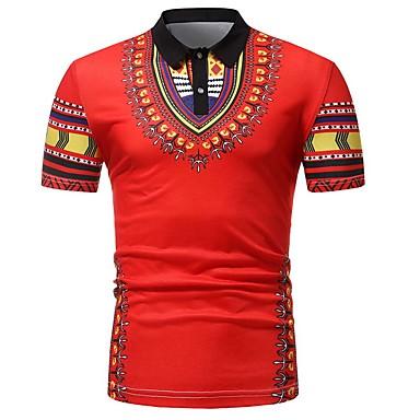 levne Pánská polo trika-Pánské - Etno Tričko, Tisk Bavlna Košilový límec Štíhlý Bílá