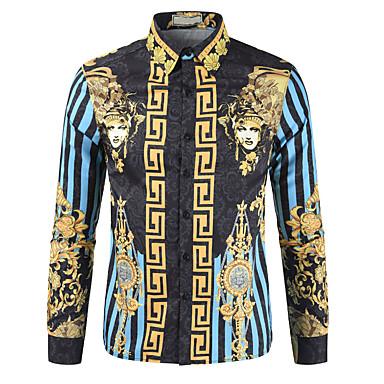 Недорогие Мужские рубашки-Муж. Рубашка Графика Этно С принтом Верхушки Классический воротник Синий Красный