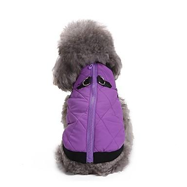 رخيصةأون ملابس وإكسسوارات الكلاب-كلاب المعاطف سترة الشتاء ملابس الكلاب أرجواني برتقالي أحمر كوستيوم فصيل كورجي كلب صيد كلب البلدغ تيريليني لون سادة كاجوال / يومي دافئ / تدفيئ XS S M L XL