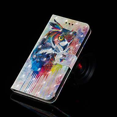 voordelige Galaxy A-serie hoesjes / covers-hoesje Voor Samsung Galaxy A6 (2018) / A6+ (2018) / Galaxy A7(2018) met standaard / Flip / Patroon Volledig hoesje Uil Hard PU-nahka